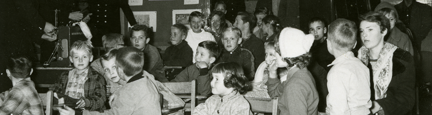 Children in a classroom learning about fire safety. Red Deer Archives P4660, cropped